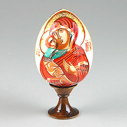Russian Icon Egg with Mary & Jesus