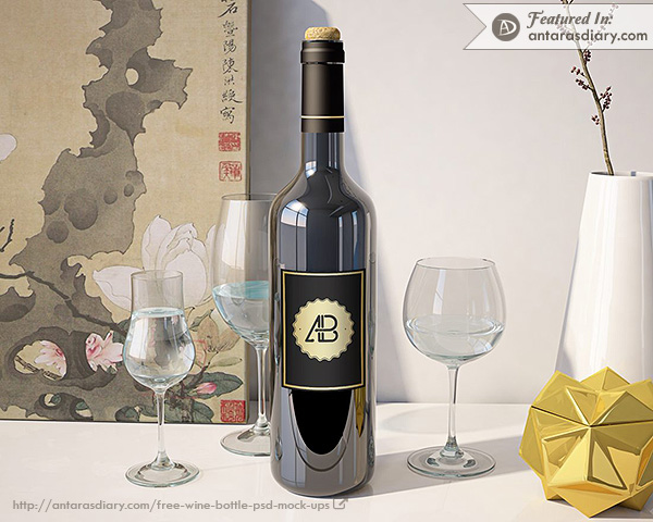 Realistic Wine Bottle Mockup