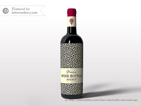 Red Wine Bottle Scene Mockup