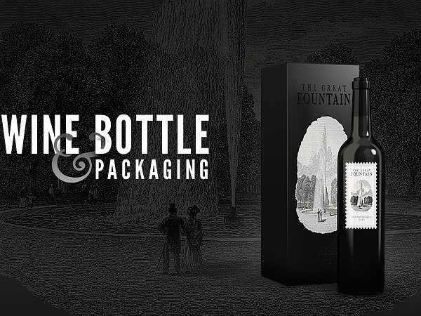 free psd wine bottle and packaging mock-up