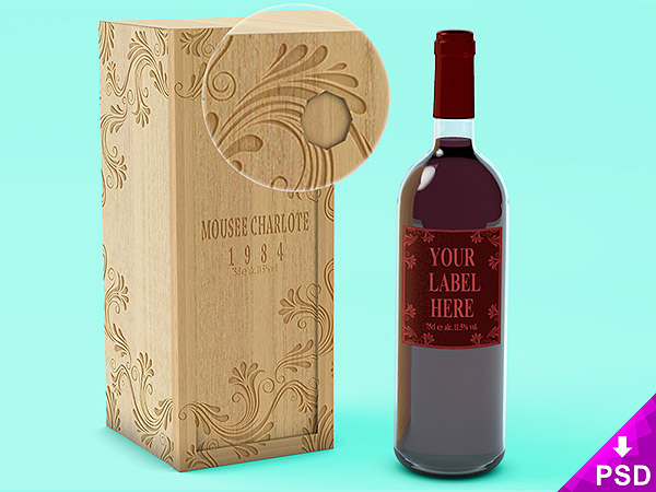 Wine Bottle with Wooden Case