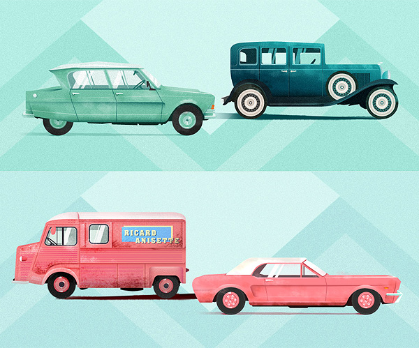 Vintage Cars Illustrations by Maite Franchi