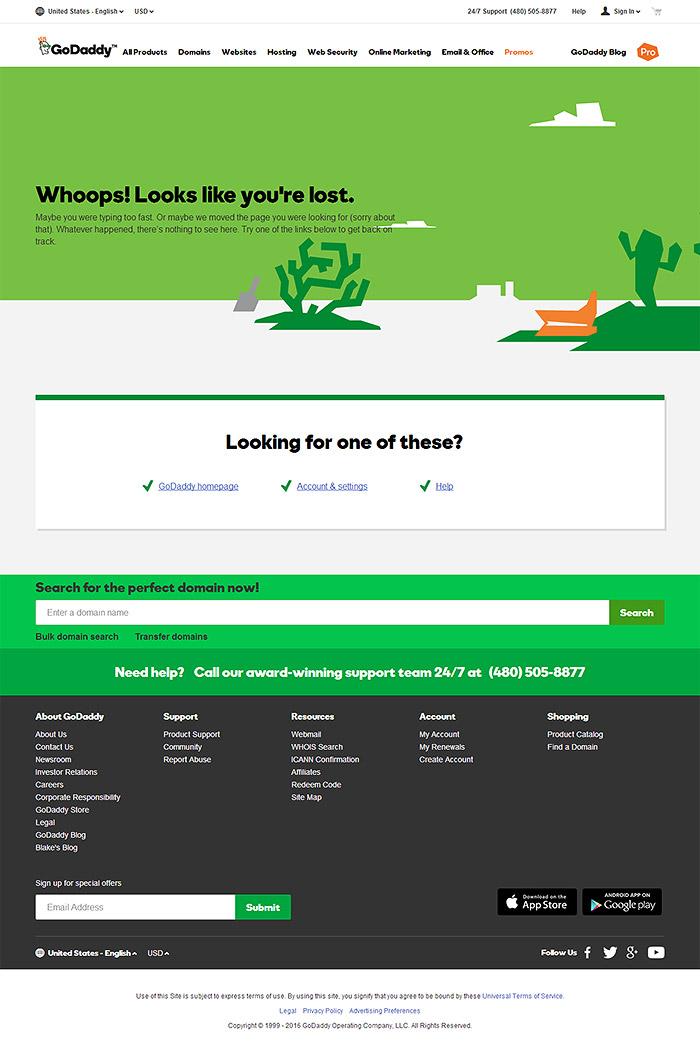 error 404 GoDaddy