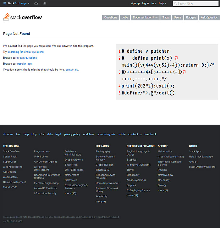 error 404 stackoverflow