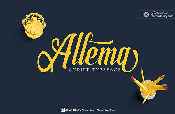 Allema script font preview