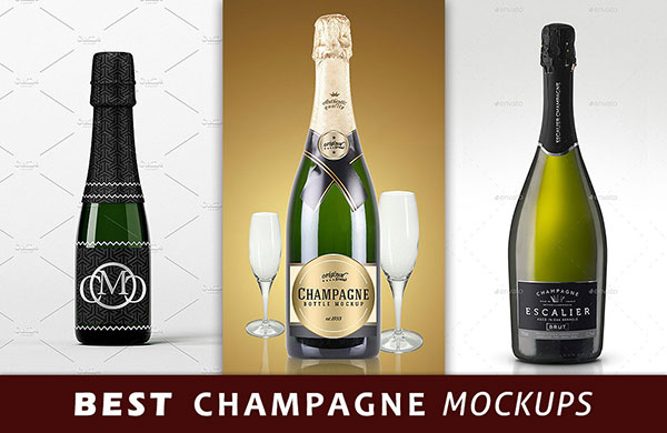 best champagne bottle mockup files preview