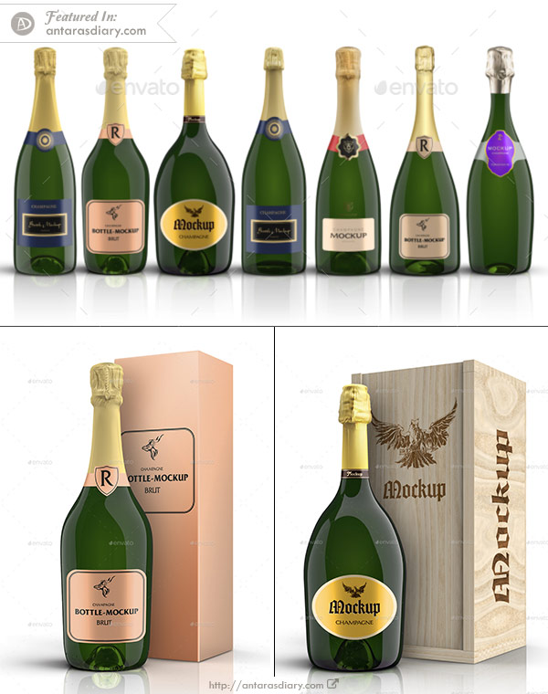 7 Champagner Bottles & Boxes Mockup