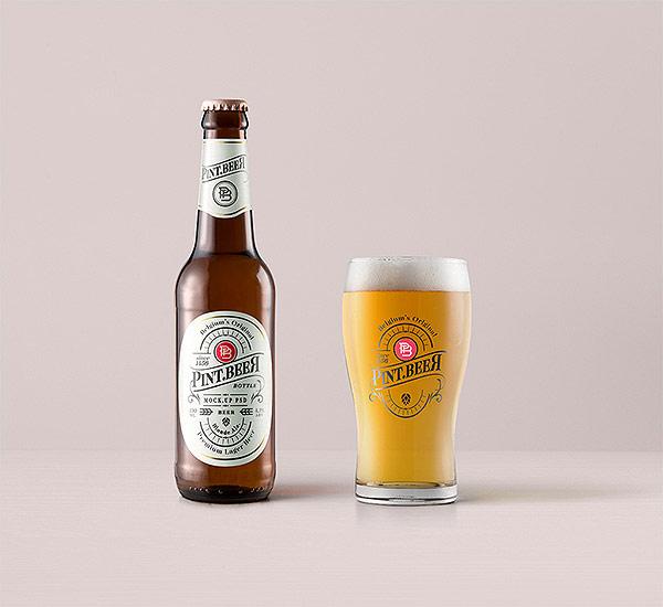 Amber Psd Beer Bottle Mockup