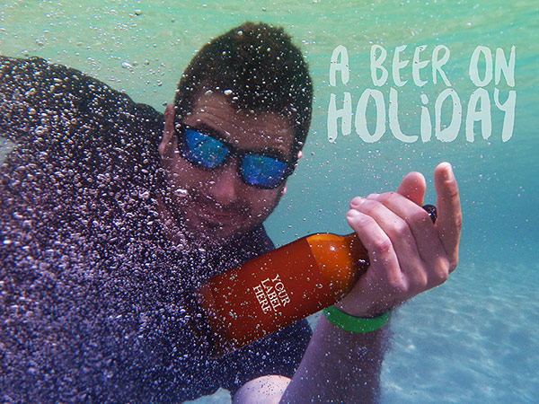 Beer on Holiday Mockup Free