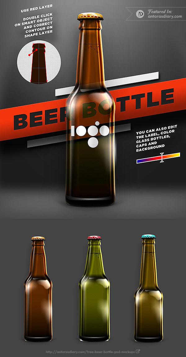 Beer shape bottle mock-up