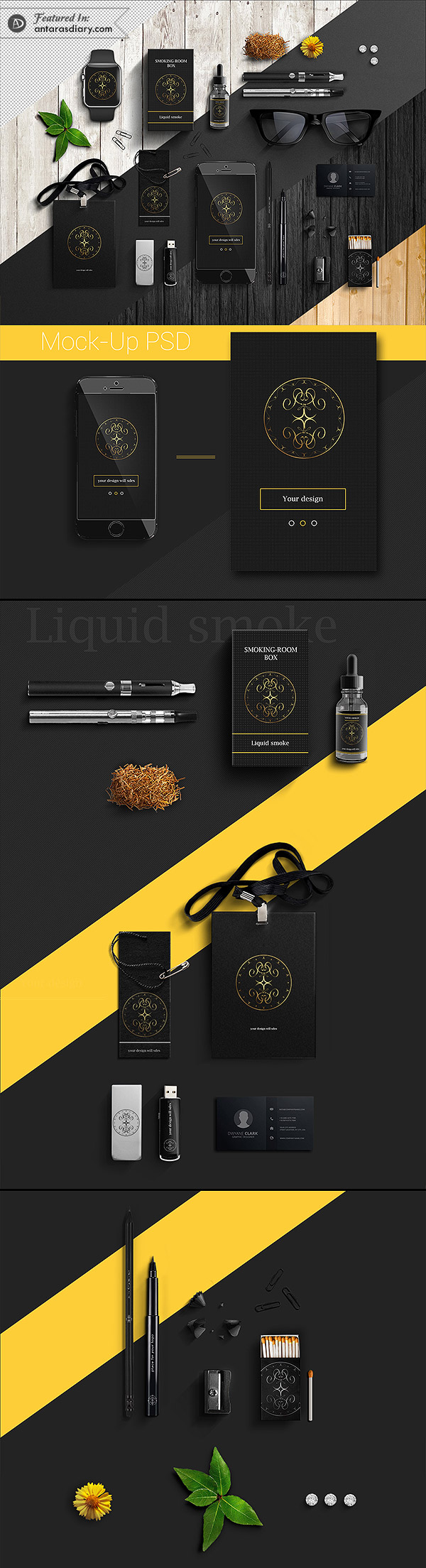 FREE Business Mock-Up PSD / Black / Corporate Style
