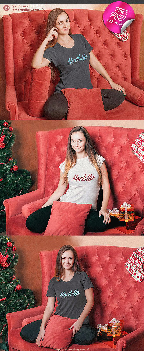 Free Christmas T-Shirt Mock-up in PSD