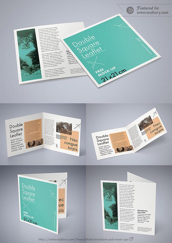 Double square leaflet mockup