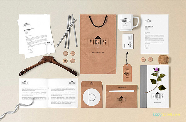 Free Classic Stationery Mock-up Scene Builder