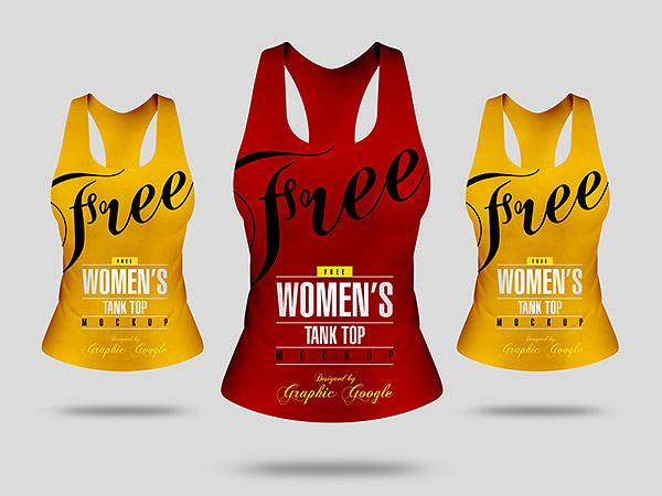 Free Front View Women's Tank Top Mock-up Psd