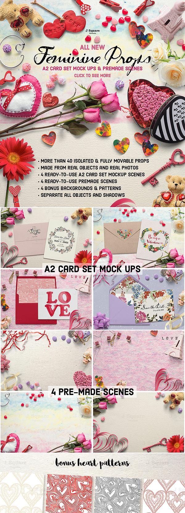 Feminine Props & A2 CardSet MockUps