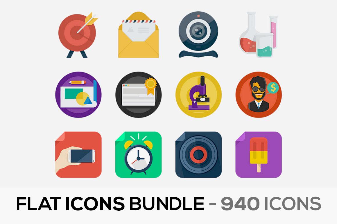 Flat Icons Bundle – 940 Icons