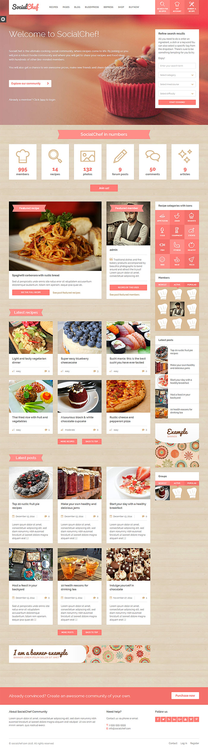 SocialChef - Social Recipe BuddyPress bbPress WordPress Theme