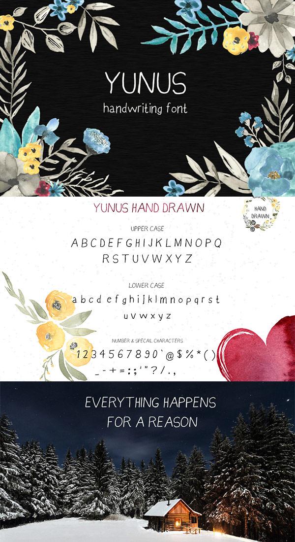 Free Font - Yunus Handwriting Font