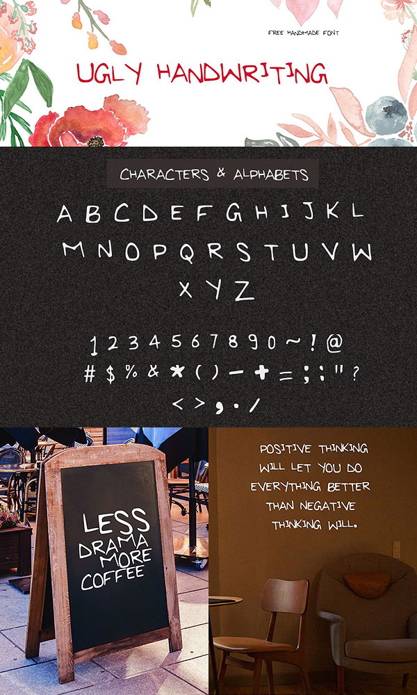 Free Font - Ugly Handwriting Uppercase