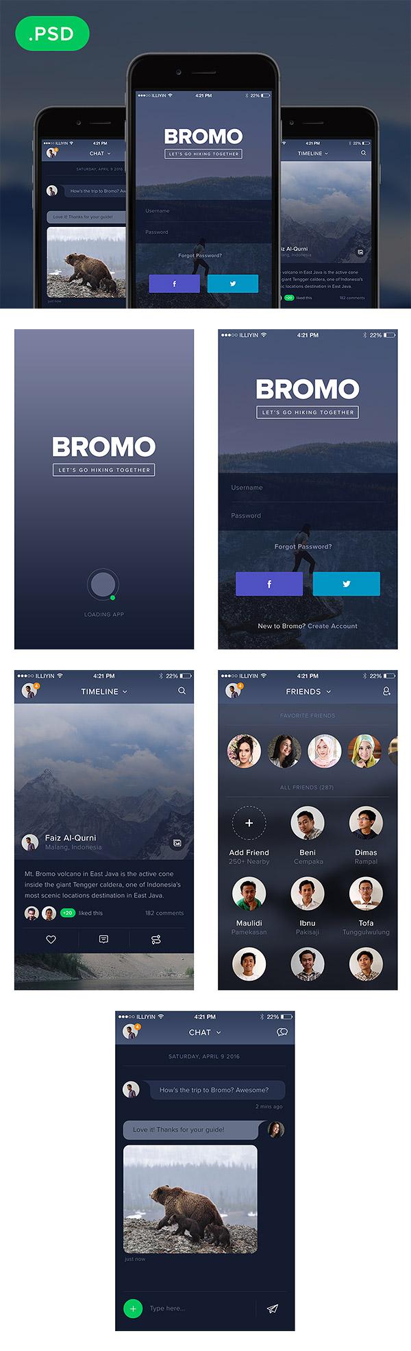 Bromo Social Mobile App UI Kit Free