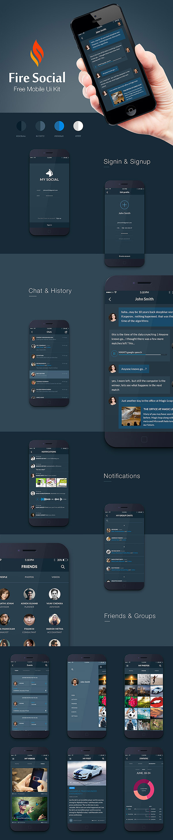Fire Social App - Free Mobile UI Kit