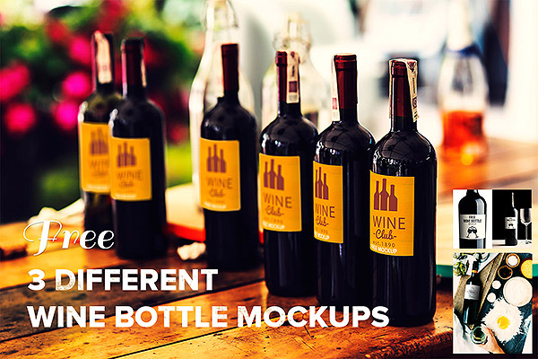 3 Different Wine Bottles Mockup