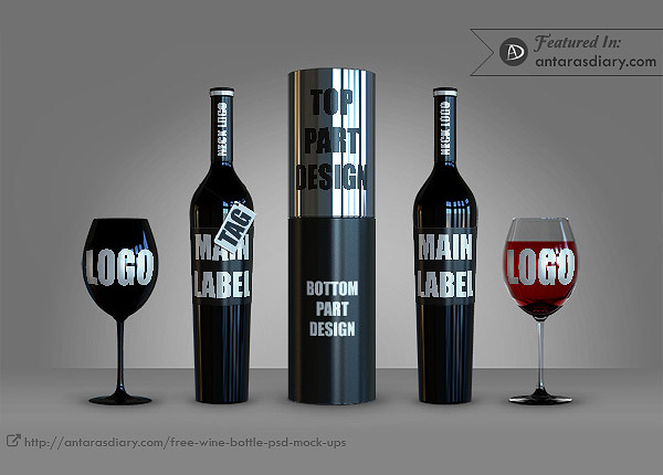 FREE Collector's Black Bottle of Wine Mock Up