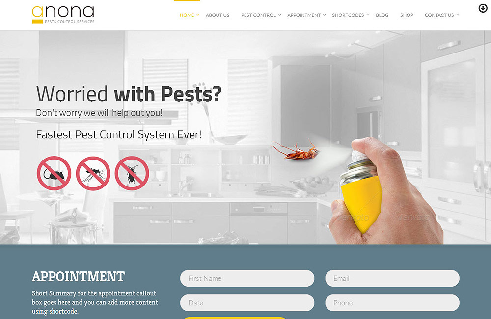 Anona pest control wordpress theme preview