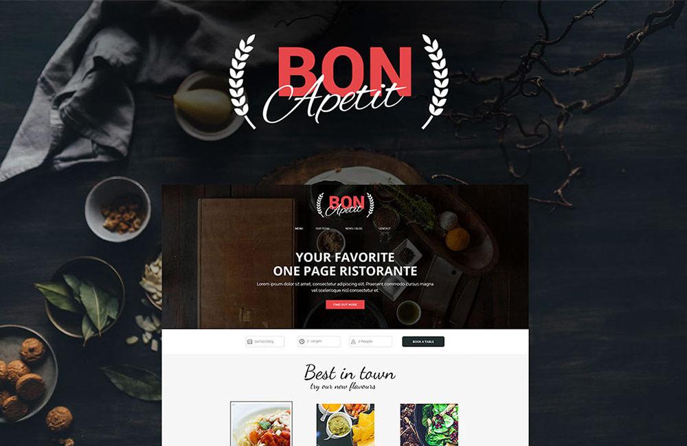 bon apetit - free restaurant website template psd preview