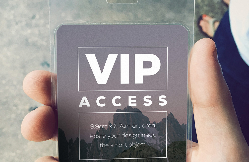 free VIP event pass mockup psd preview