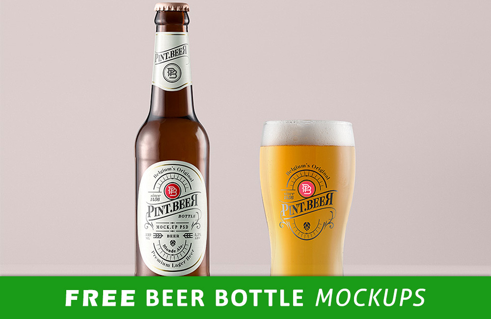 free beer bottle mockup PSD files preview