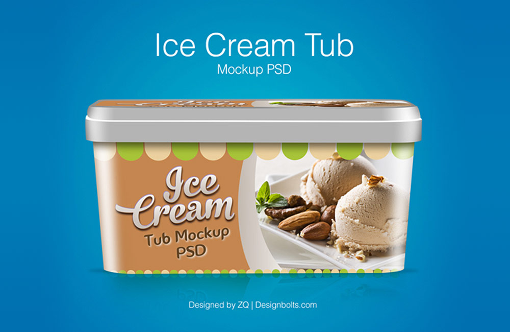 Free Ice Cream Tub Mockup PSD preview