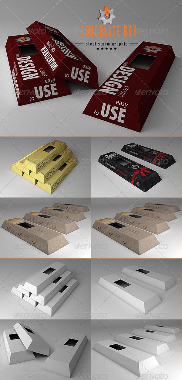 3D Chocolate Box Mockup