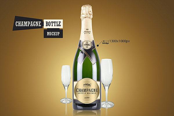 Champagne Bottle - Mockup