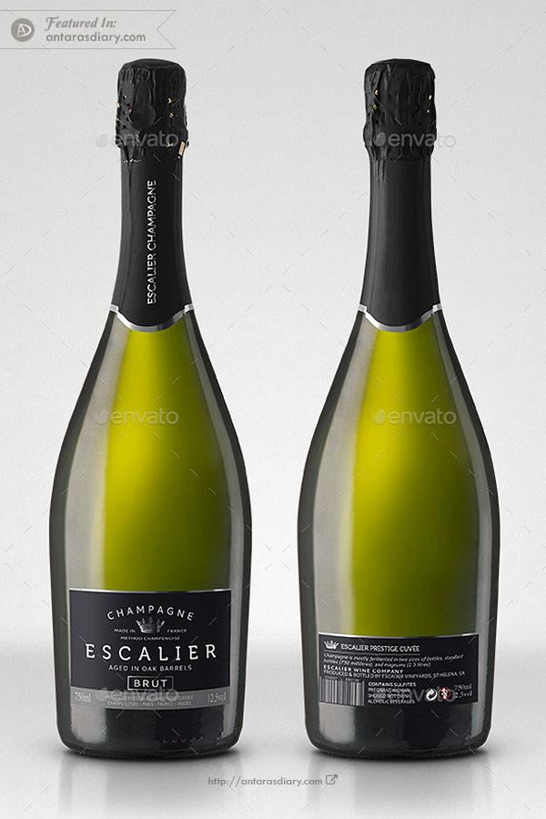 Champagne Gran Cuvée Bottle Mockup