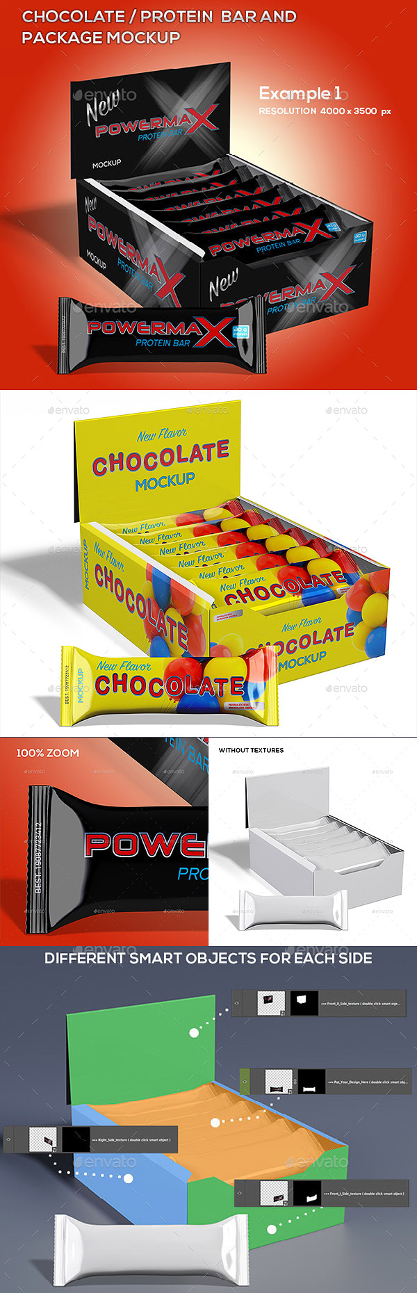 Chocolate / Protein Bar And Package Mockup