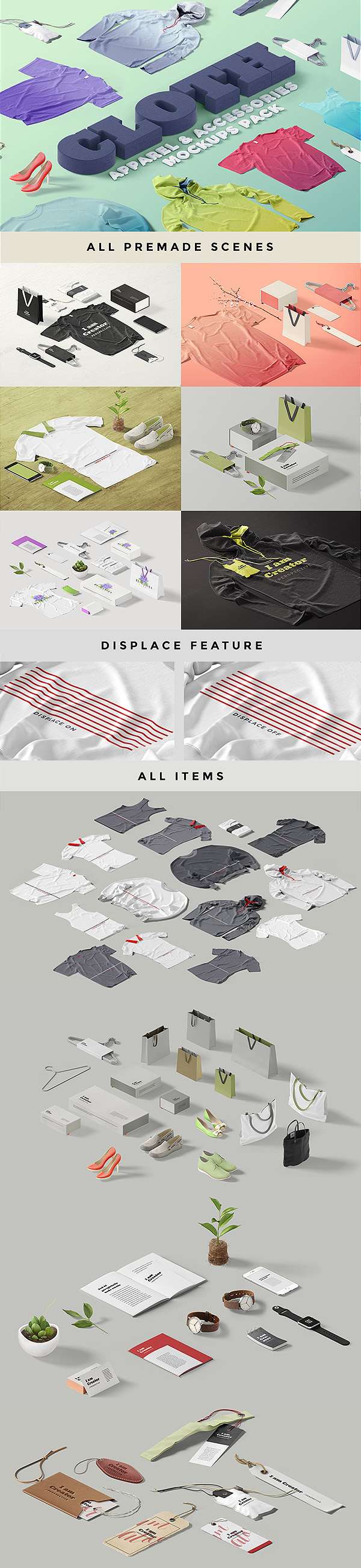 Cloth, Apparel & Accessories Mockups
