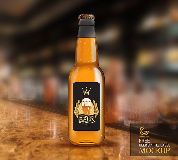 Free Beer Bottle Label Mockup