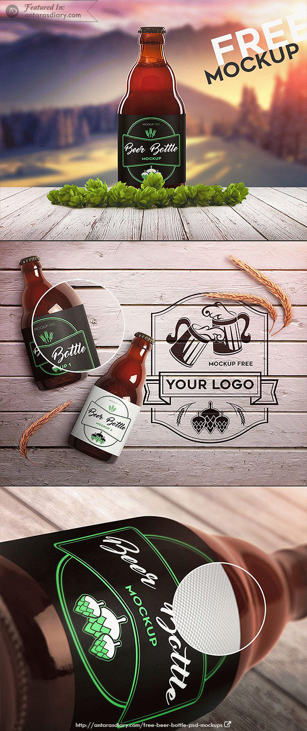 Beer Bottle 2 – Free PSD Mockup