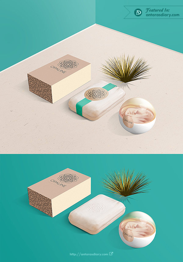 Free PSD / Display Mockup Cosmetic Brand / OPALINE
