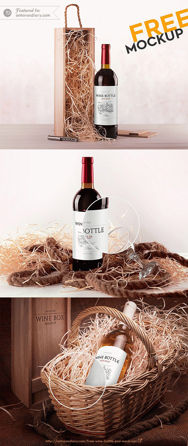 Wine Bottle – Free PSD Mockup