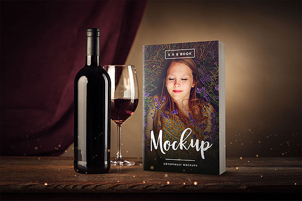 5 x 8 Paperback Book Mockup with Wine Glass