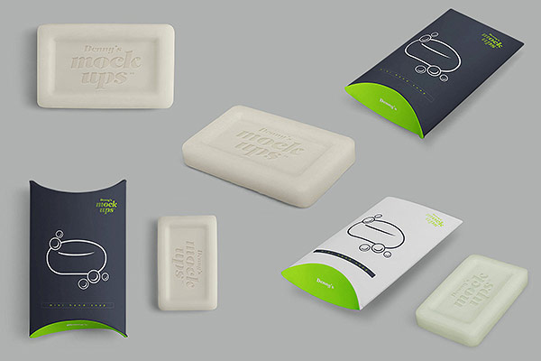 Mini Hand Soap in Pillow Box Mockup
