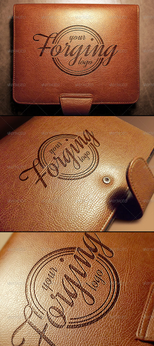 Photorealistic Leather Logo Mockups
