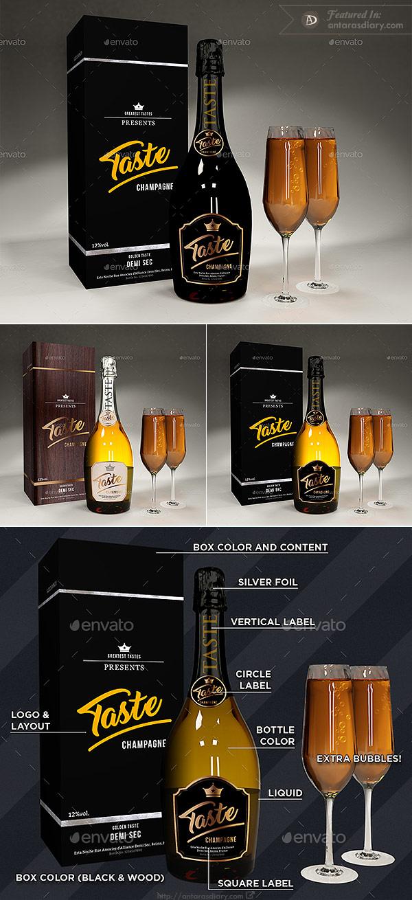 Realistic Champagne Scene Mockup