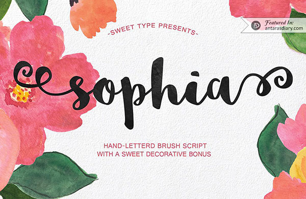 Sophia hand-lettered font preview