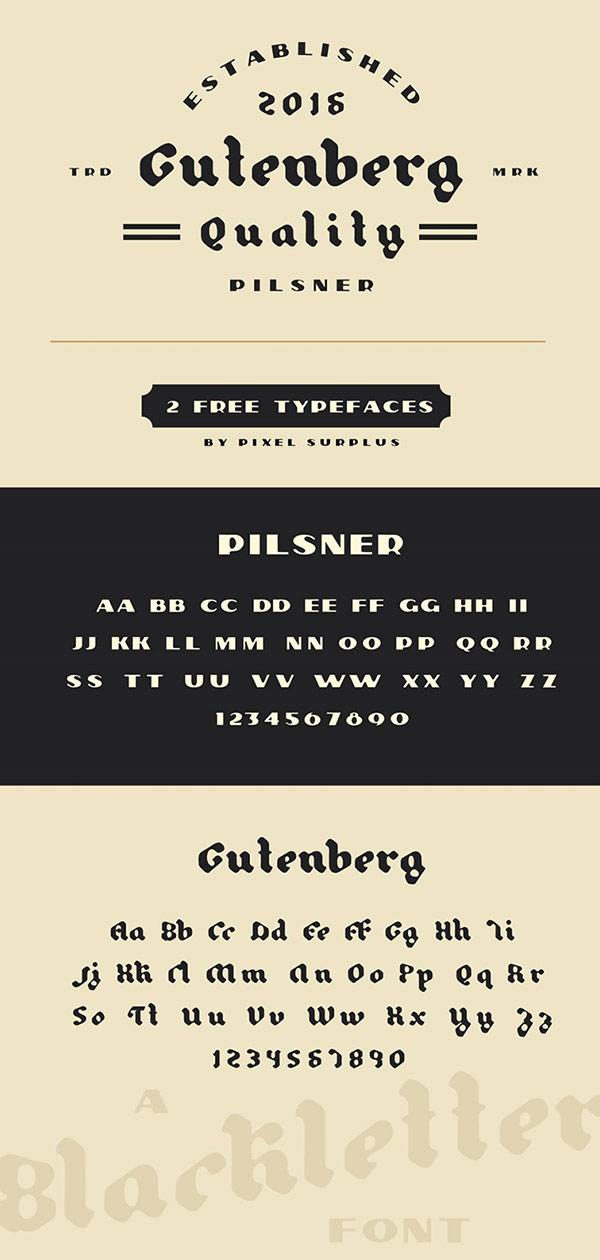 Free Font - Pilsner & Gutenberg