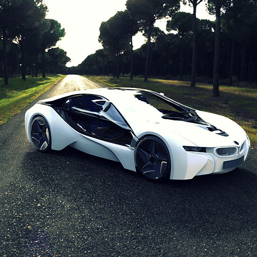 Bmw I8 Sports Car Road Tree iPad Air Wallpaper