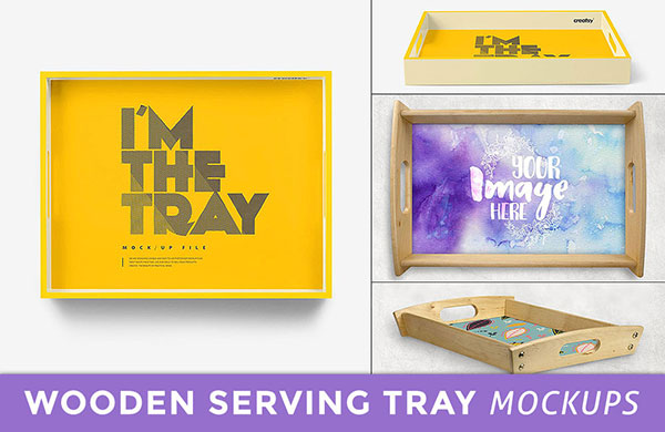 wooden serving tray mockup psd